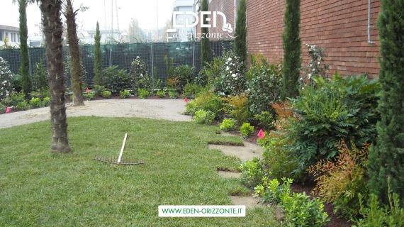 giardino aziendale posa prato erboso