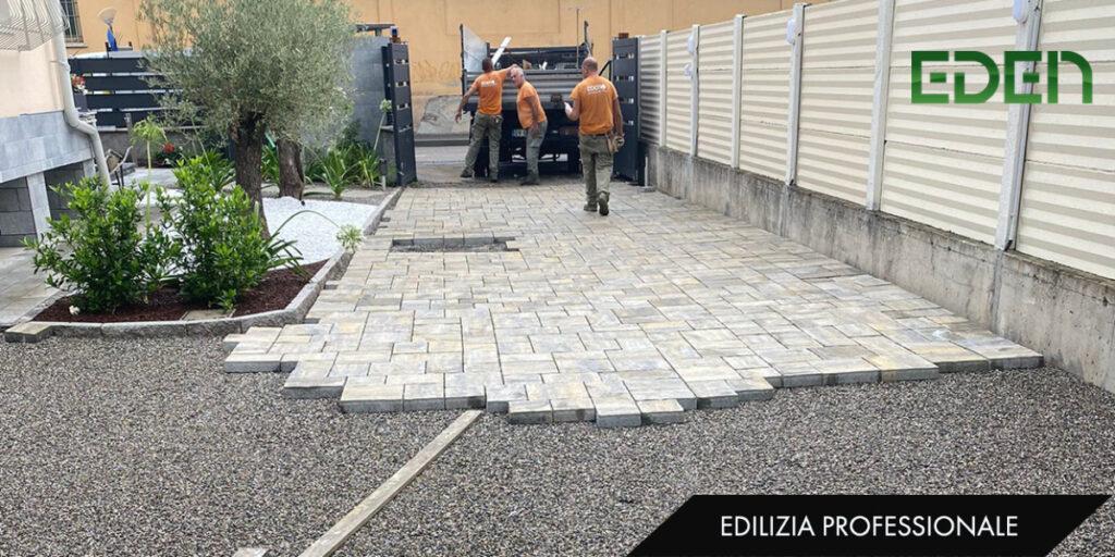 Posa pavimentazione con autobloccanti